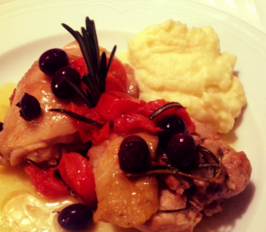 """pollo alla cacciatora"" chicken with mash potatoes made with butter, cherry tomatoes, chicken, extra virgin olive  oil, garlic, milk, nutmeg, olives, Parmesan cheese, potatoes, rosemary, sea salt, white wine, wine vinaigrette"