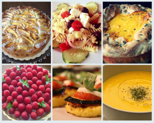 a six dish collage of raspberry tarts and pumpkin butternut squash soup with desserts like apple fritter and greek pasta salad from FromScratch in Ridgewood new jersey